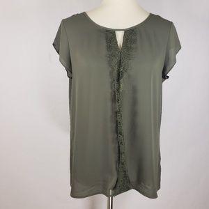 Express Green Keyhole Lace Short Sleeve top Sz M